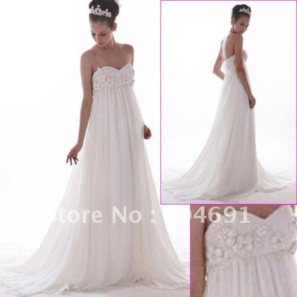 Strapless White Chiffon Wedding Dress Sweetheart Empire Waist Bridal ...