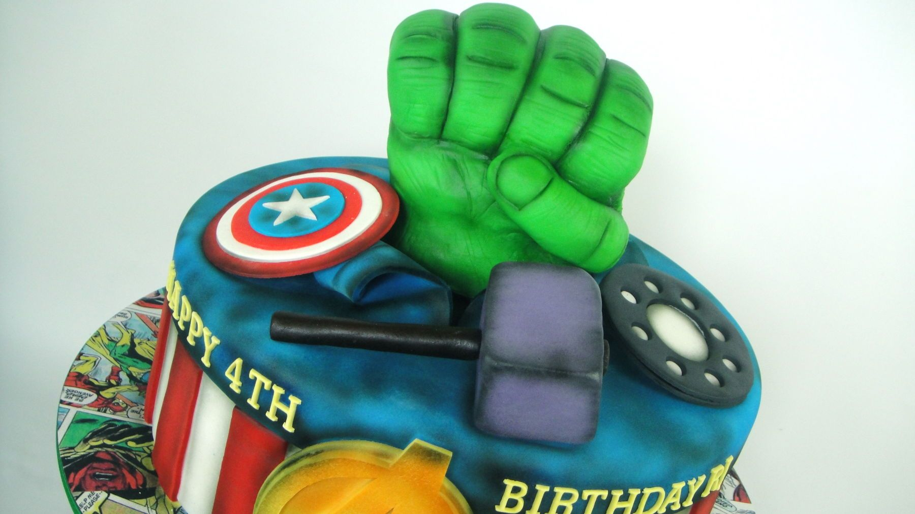 Avengers birthday cake toppers with modern concept and