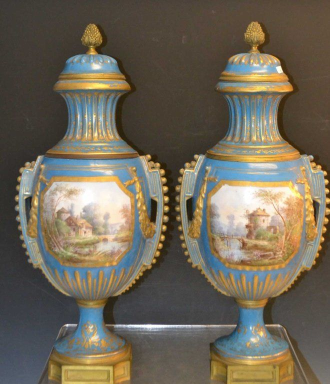 Pair Of Sevres Vases Blue W Gold Decoration Landscape On One Side W