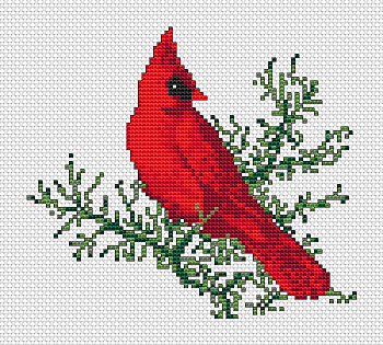 DIY Chart Counted Cross Stitch Patterns Needlework Holy Hill Cardinals