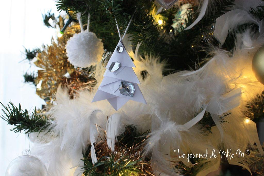 christmas tree origami diy pompon 2015 white golden notre sapin doré et blanc