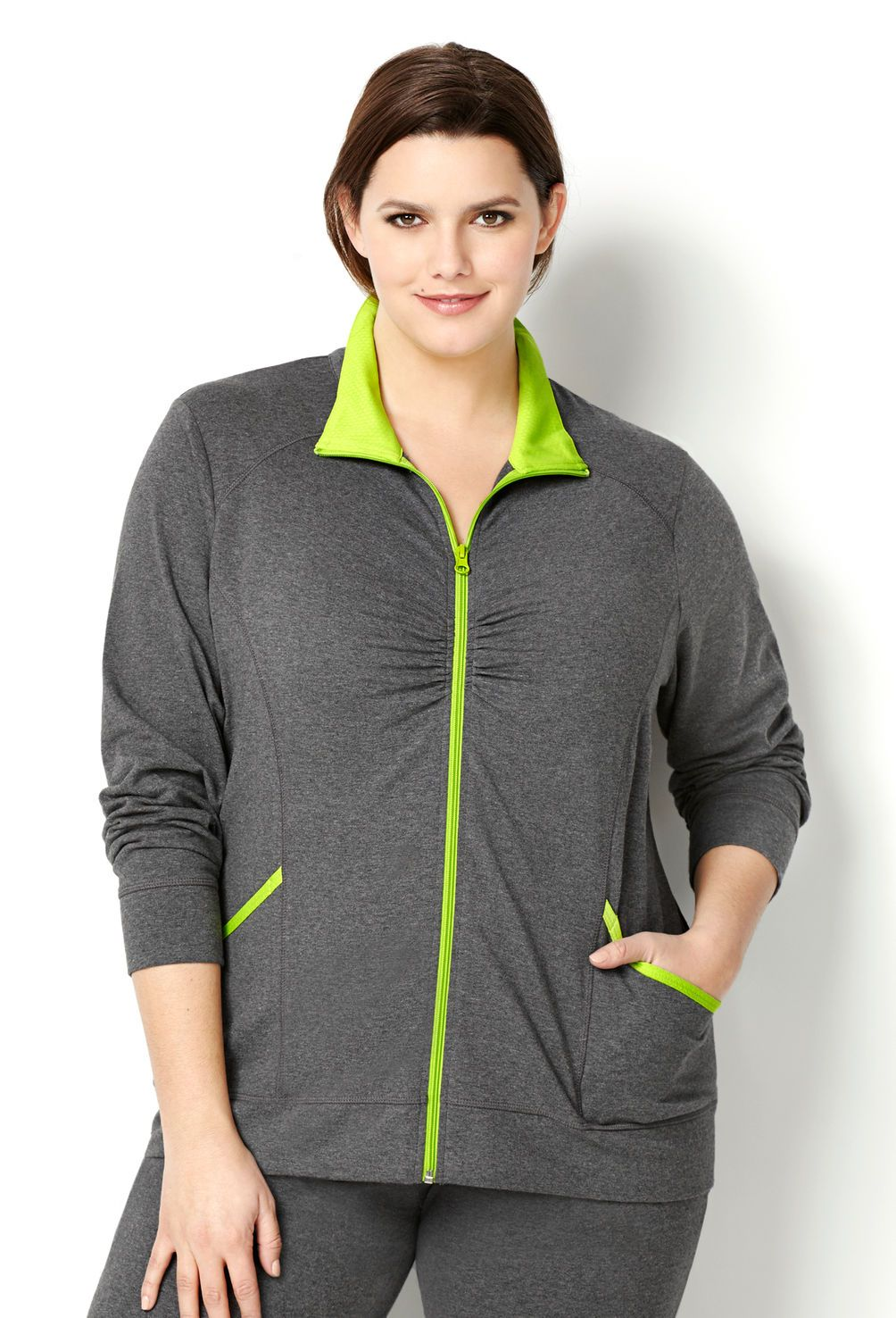 0f29eab608a Mesh Trim Yoga Jacket-Plus Size Activewear-Avenue Mesh Jacket