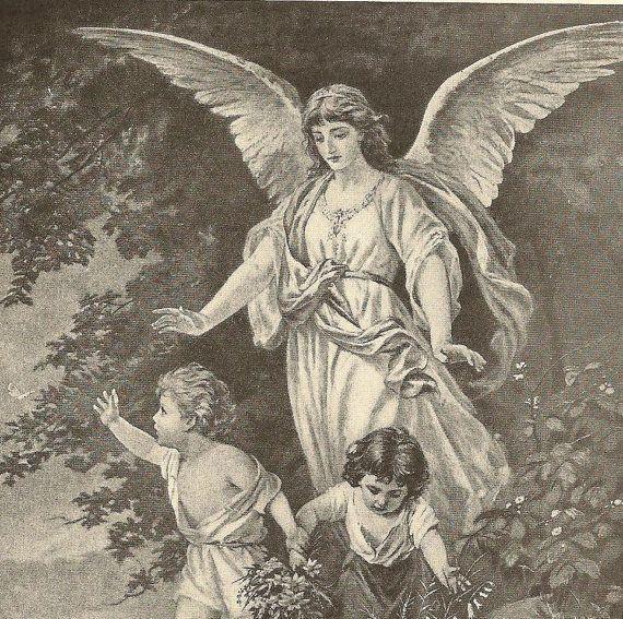 Nursery Art Vintage Black & White bookplate 1913 Childrens Book The Guardian Angel by TheOldBarnDoor, $6.00