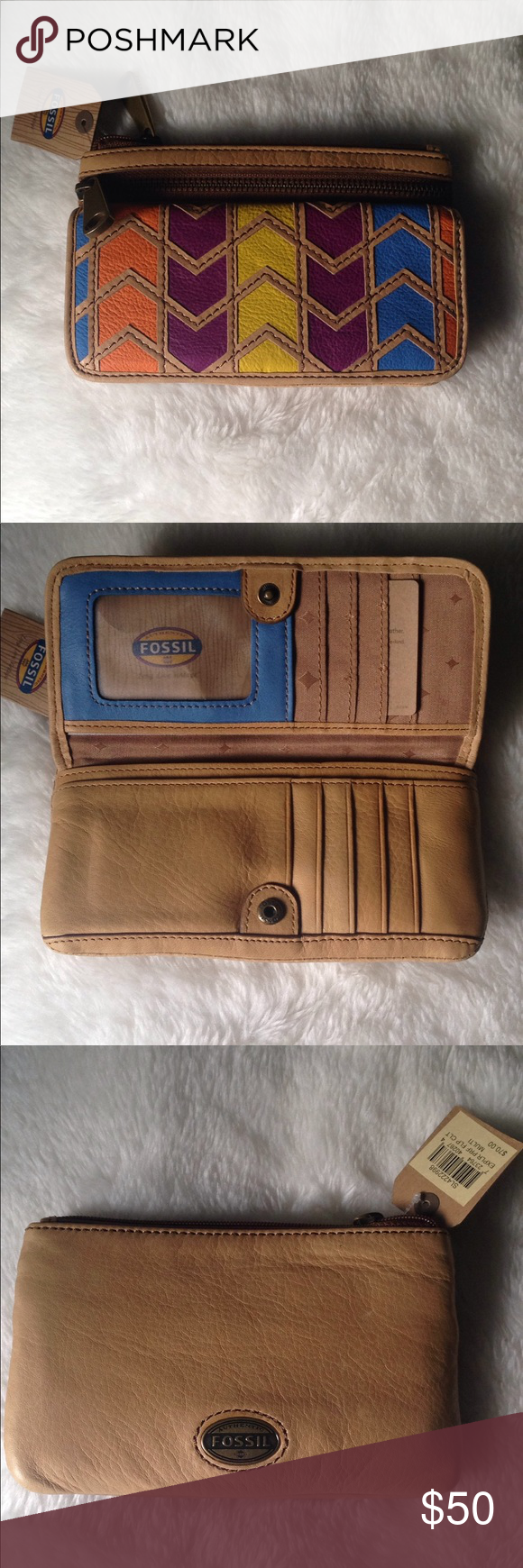 Fossil Explorer Flap Clutch NWT Patchwork designs Fossil bags and