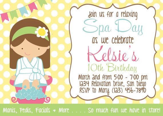 Spa Day Invitation - Girl Birthday Party - PRINTABLE | More Girl ...