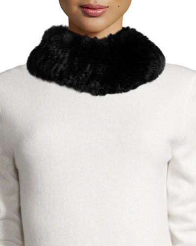 Rabbit-Fur Funnel Scarf, Black