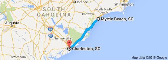 Map From Myrtle Beach Sc To Charleston Sc Myrtle Beach North