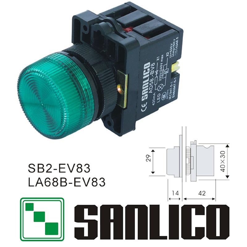 Illuminated Indicator Signal Lamp Pilot Light Sb2 La68b Xb2 Ev83 With Led Led Electrical Equipment Light