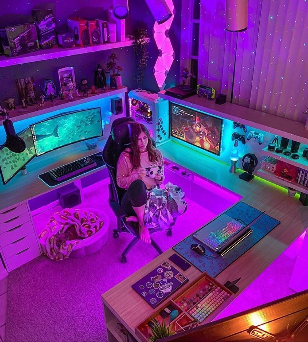 505 Likes 3 Comments Gaming Setups Chris Setupscientist On Instagram Two Setups And A Laptop In 2020 Video Game Room Design Computer Gaming Room Room Setup