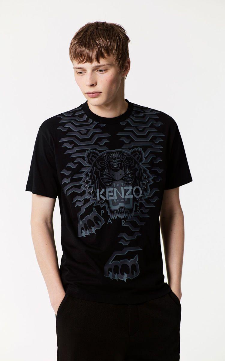 aceee63262 BLACK Geo Tiger T-shirt for men KENZO