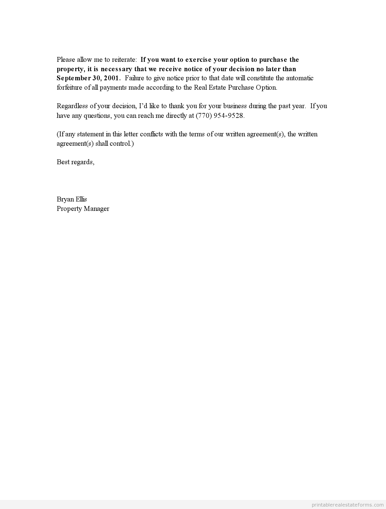 printable end of lease letter template 2015