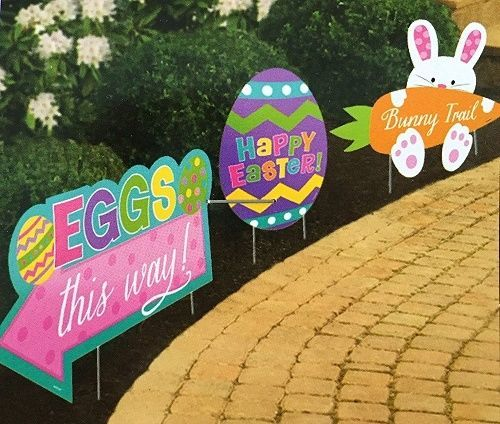 Captivating Easter Garden Stake Path Way Yard Signs Lawn Decorations Spring Bunny 3 Pc  Set #Unbranded