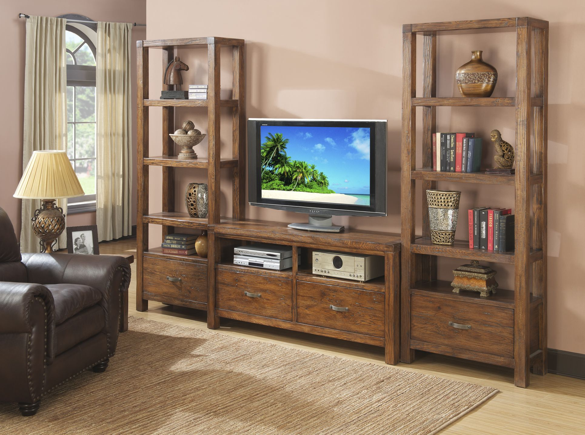 This entertainment unit is beautifully weathered yet built to last