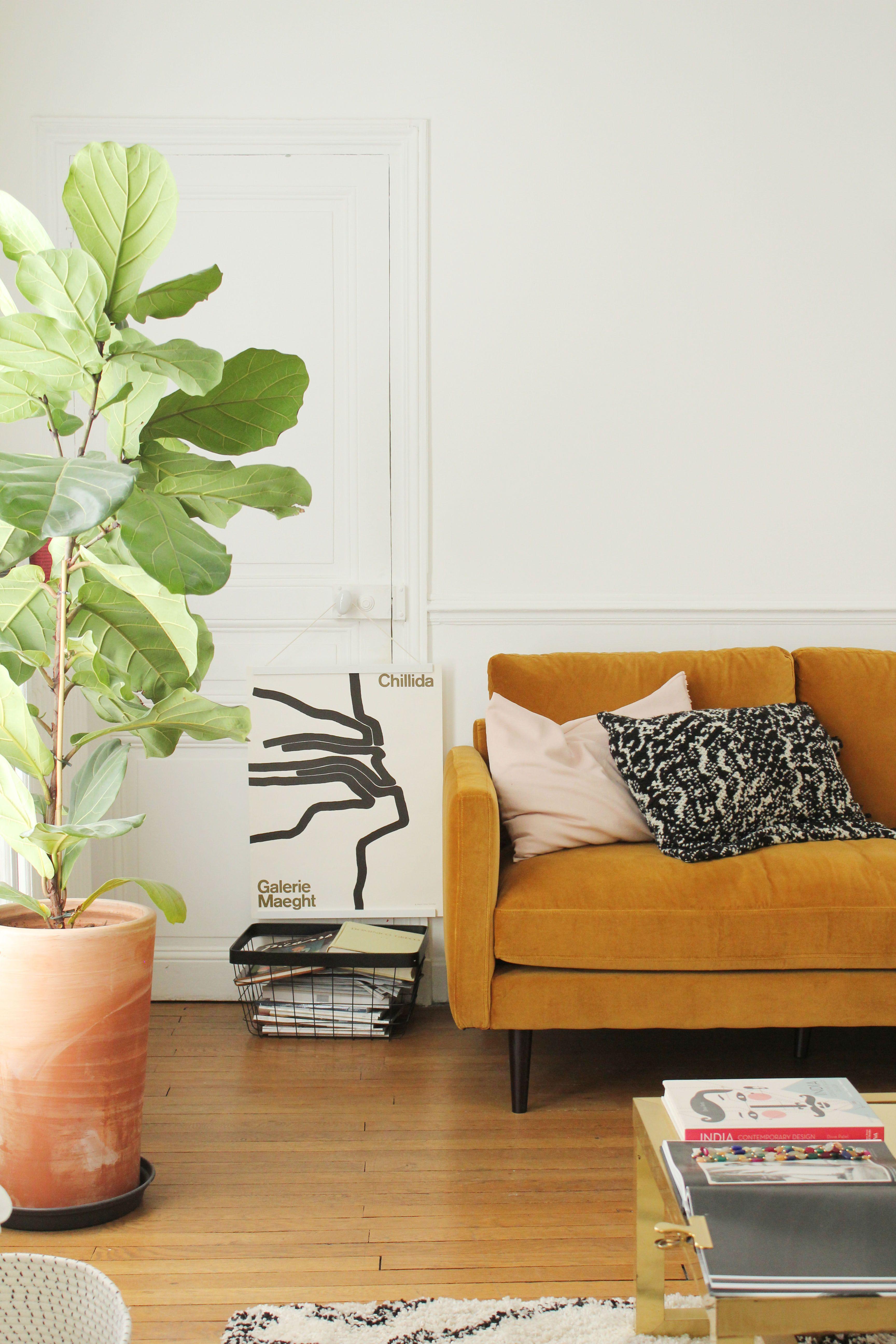 Selency living room vintage orange sofa pants beni ouarian