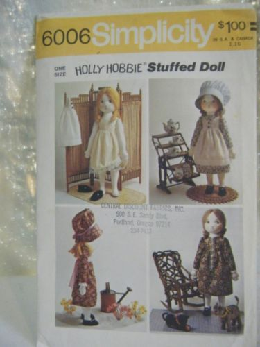 Simplicity 6006 Holly Hobbie Doll & Clothes Pattern | eBay | Holly ...