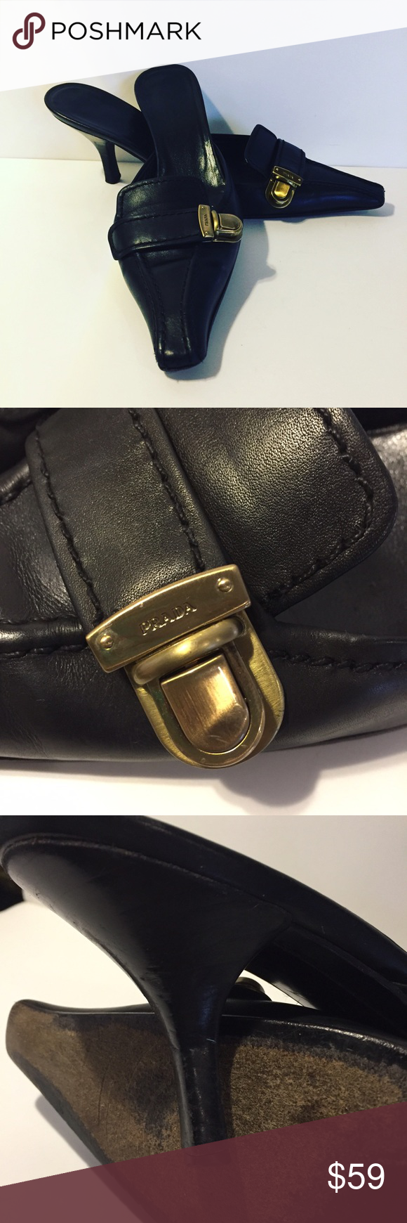 Prada Mule Clogs Kitten Heel Women's Prada black leather buckle slip on mules size 36 1/2. Made in Italy. These preowned Prada mules are in good condition showing signs of wear on heels and sole but overall fine wearable shape. There is some residue from a sole insert. Prada Shoes Mules & Clogs