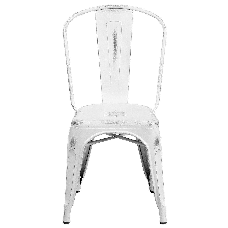 Amazon.com - Flash Furniture Distressed White Metal Indoor ...