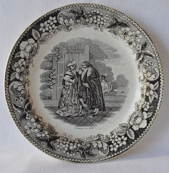 Antique French decorative plate made by the famous Creil u0026 Montereau L Leboeuf et Thibault & Antique French Decorative Wall Plate - Creil u0026 Montereau L Leboeuf ...