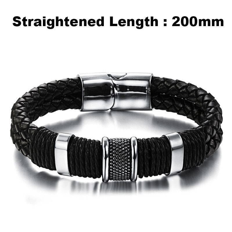 Men's Bracelet Leather Stainless Steel Bangle Magnetic Clasp Fashion Wristband