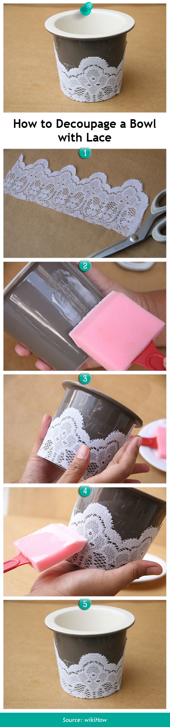 wikiHow to Decoupage a Bowl with Lace -- via wikiHow.com