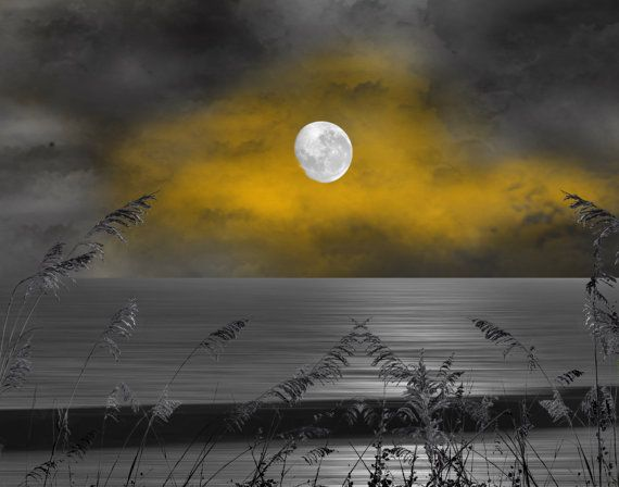 Coastal, Ocean, Moon, Yellow Gray Clouds, Sky Decorative Bedroom Wall Art Photography Matted Picture