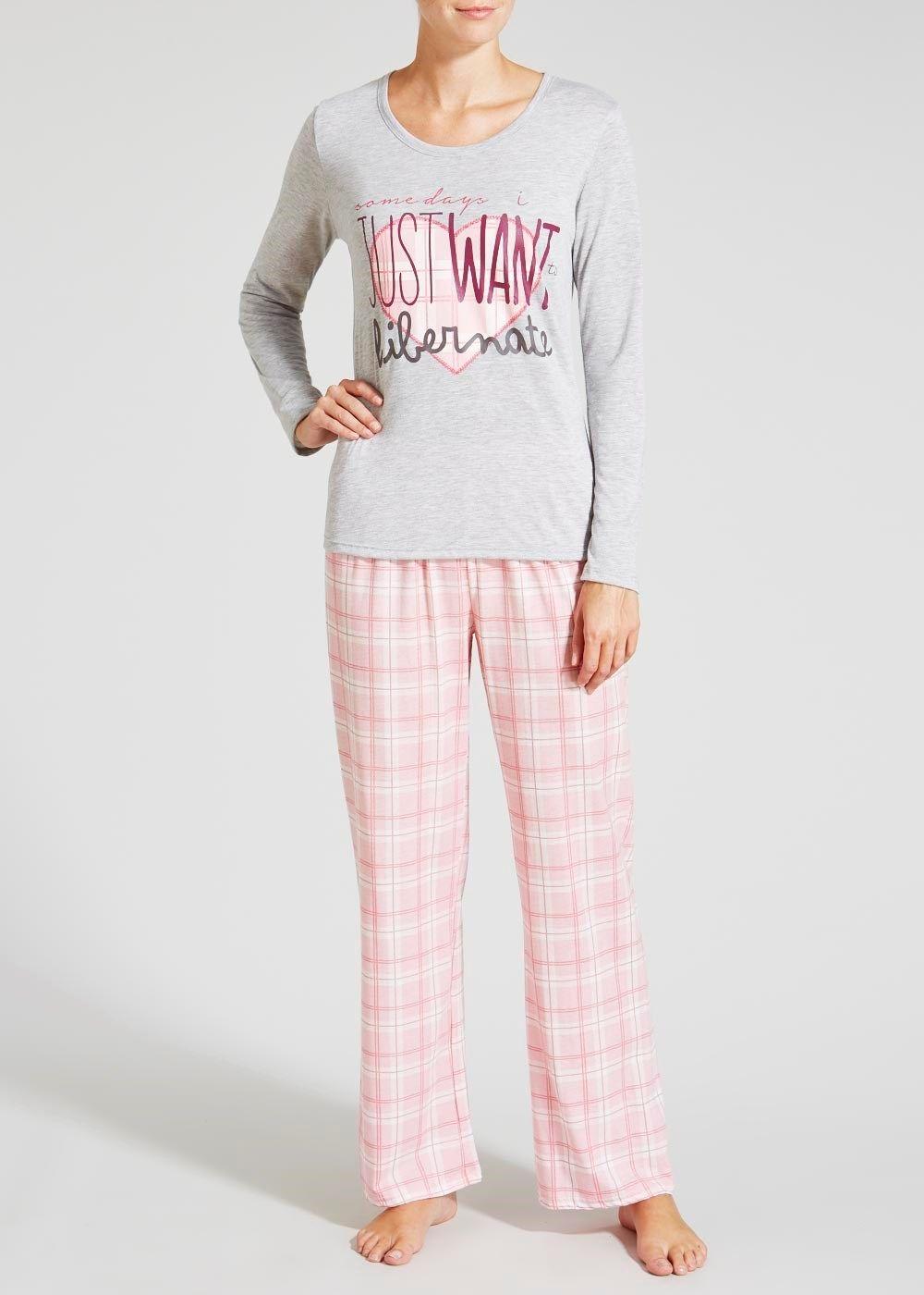 Slogan Check Jersey Pyjama Set