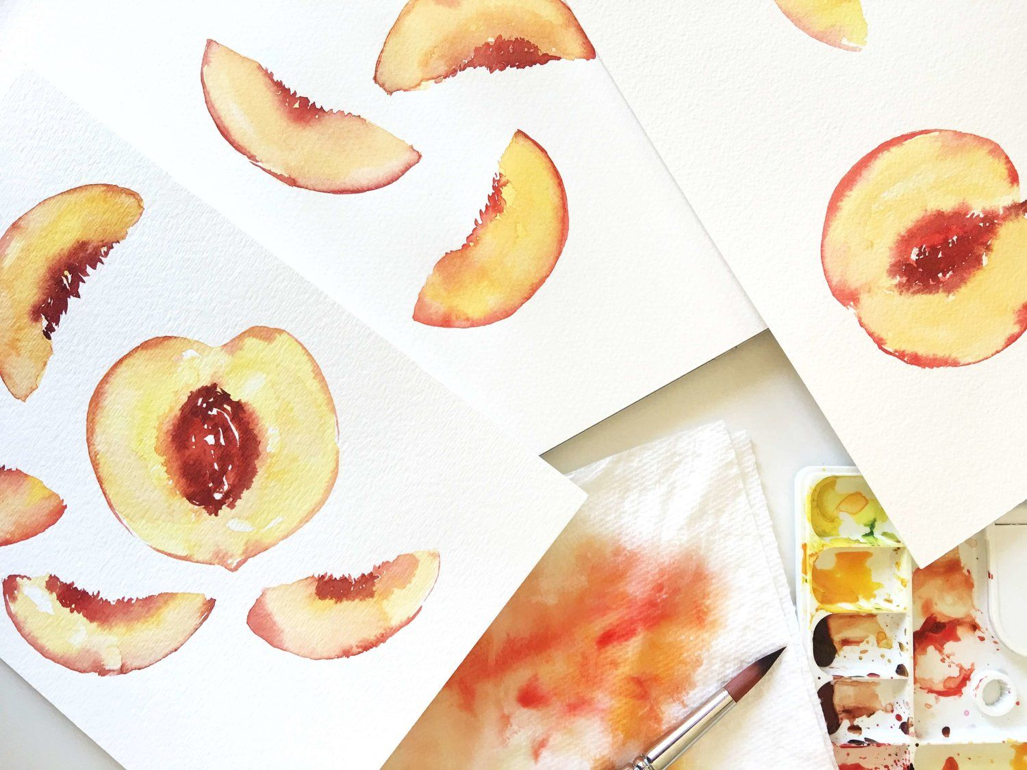 Easy Watercolor Peach Painting For Beginners Fruit Painting