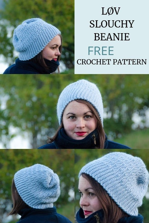 Crochet Løv Slouchy Beanie - FREE Crochet Pattern | Häkeln/Stricken ...