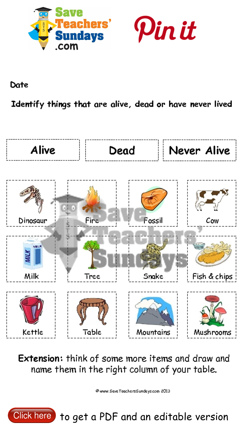 Living, dead and never alive worksheet. Go to http://www ...