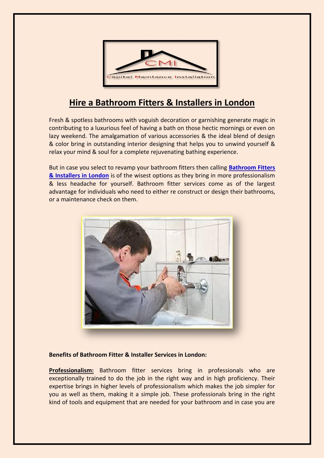 Hire a bathroom fitters & installers in london | Bathroom ...