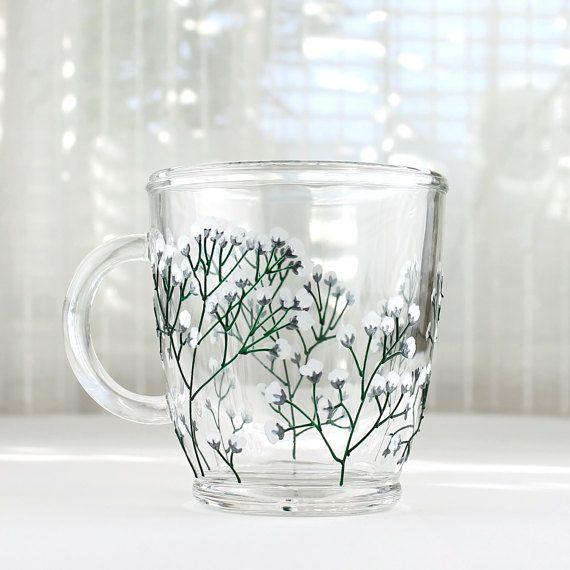 hand painted glass mug baby 39 s breath flower design glass