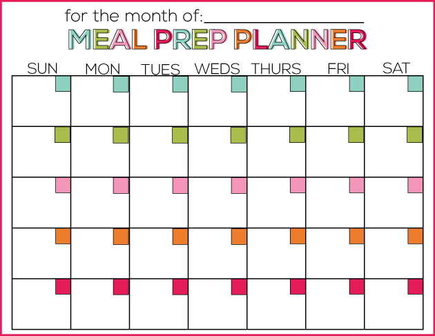 meal prep planner template