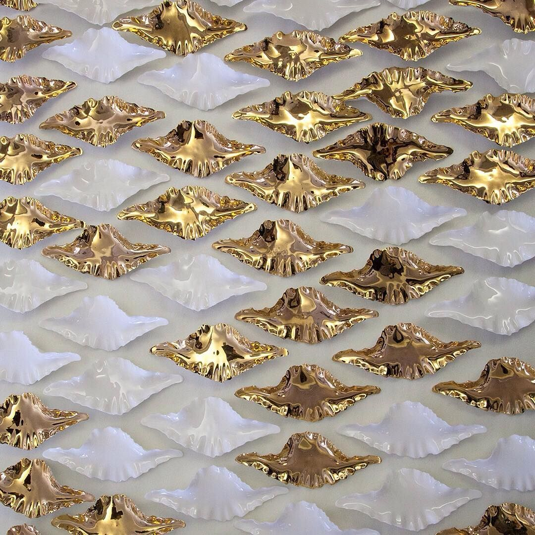 Gold lustre and pure-white glaze leaves #Haberdasheryltd