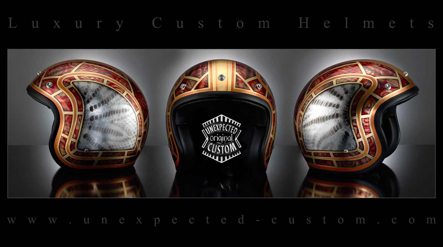 "Custom helmet ""THE SNAKE""  Luxurious and highly precious airbrushed helmet on a full lamination in gold leaf.  On the lid sides were added parts in airbrushed silver leaf."