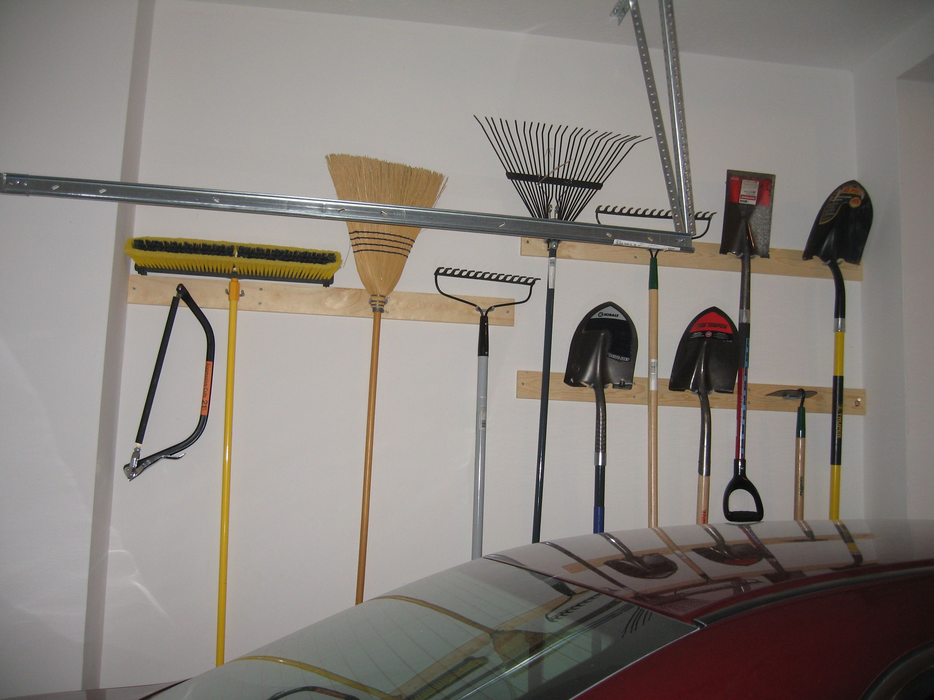 Hand Tool Garage Storage Diy 2X4 And U Shaped Utility Hooks