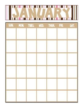 Striped Printable Yearly Calendar   Month Calendar Binder And