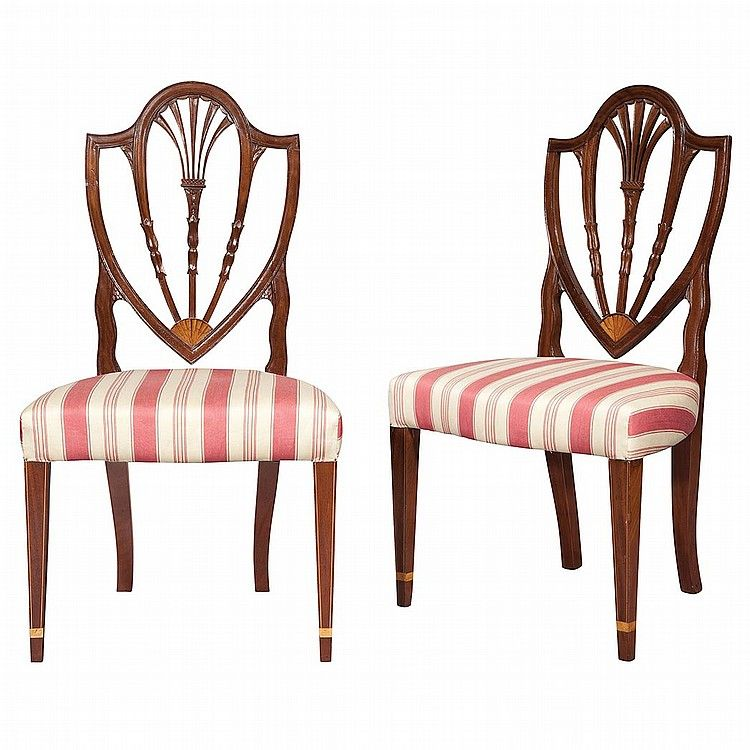 60887c7facad Pair of Federal Carved and Inlaid Mahogany Shield Back Side Chairs New  York