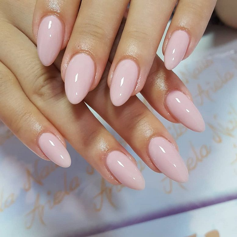 Simple Pink Nude Nail Art idea