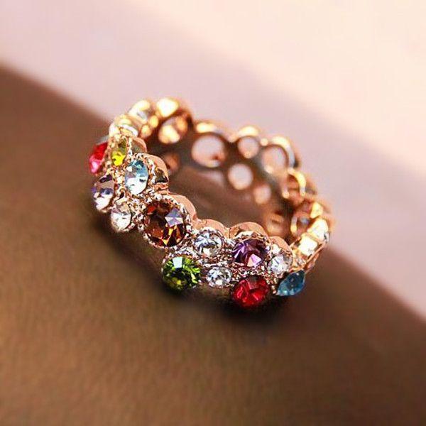 Extraordinary Colorful Rainbow Stones Fashion Rose Gold
