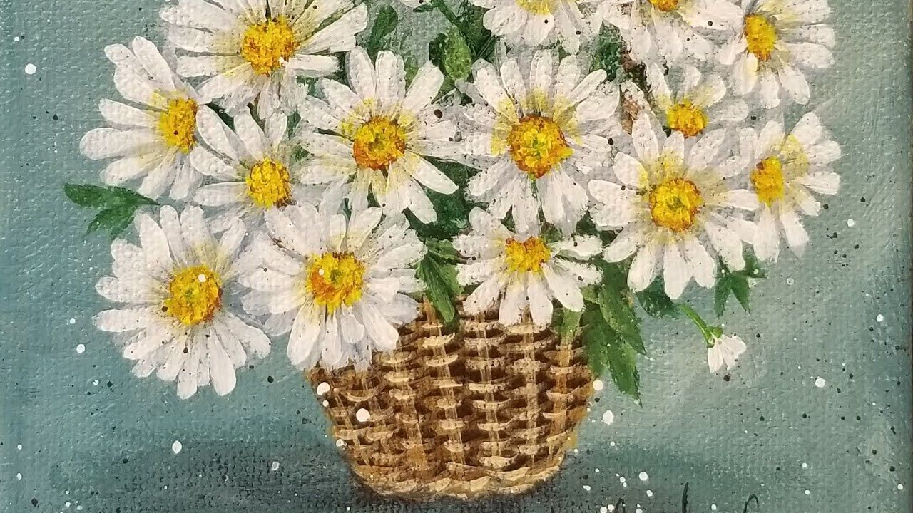 Daisy Flower of the Month Series Acrylic Painting LIVE ...