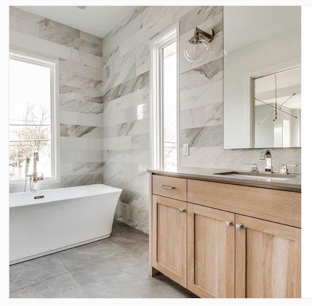 Marble Porcelain Tile Bathroom Maple Vanity Beautiful Bathroom