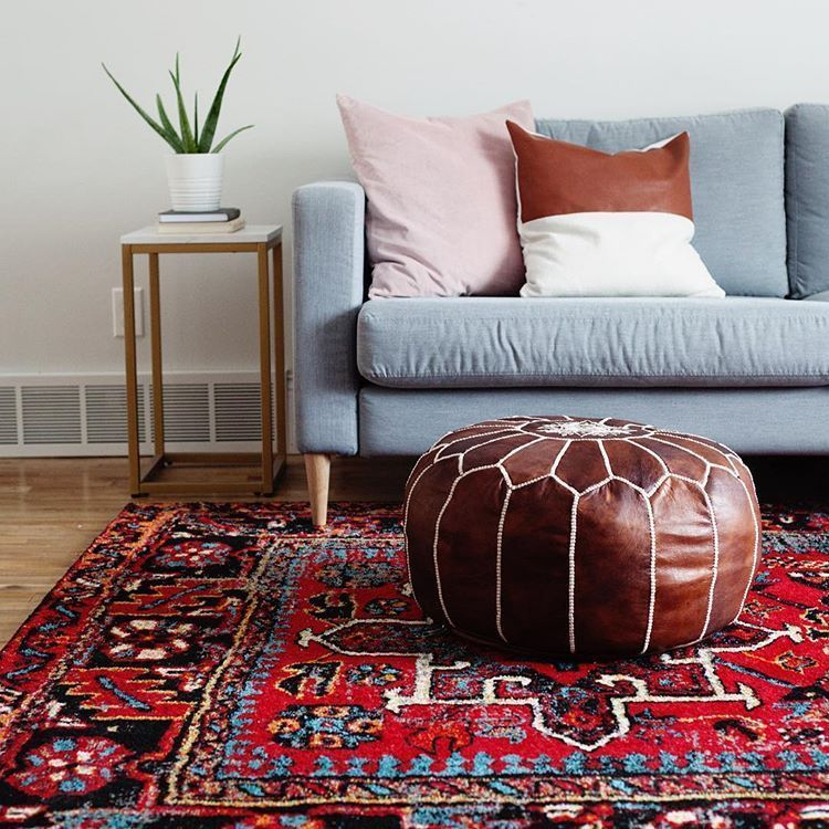 Scandi Boho Scandinavian Bohemian Living Family Room With Bold Red Antique Vint Antiq In 2020 Red Persian Rug Living Room Persian Rug Living Room Family Living Rooms