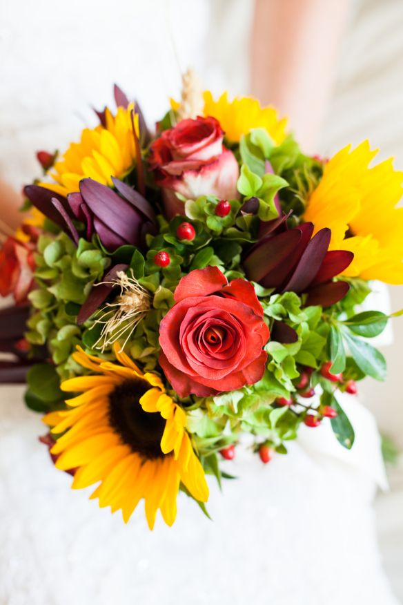 Indian Summer Early Fall Wedding Bouquet With Sunflowers