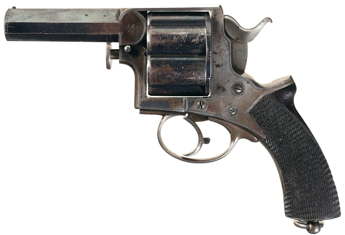 Unique and rare documented massive tranter patent double action man stopper revolver with adams co retail marking