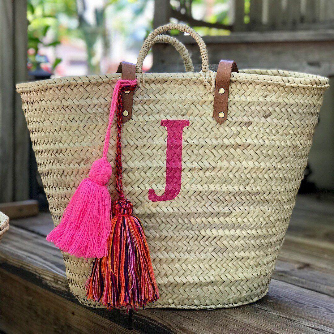 monogrammed bag with tassels