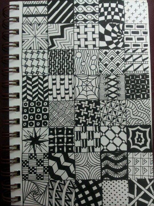 40 Different Zentangle Patterns Like A Sampler Abstract Art