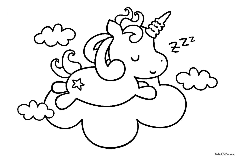 Раскраска Единорог спит в облаках распечатать или скачать ...