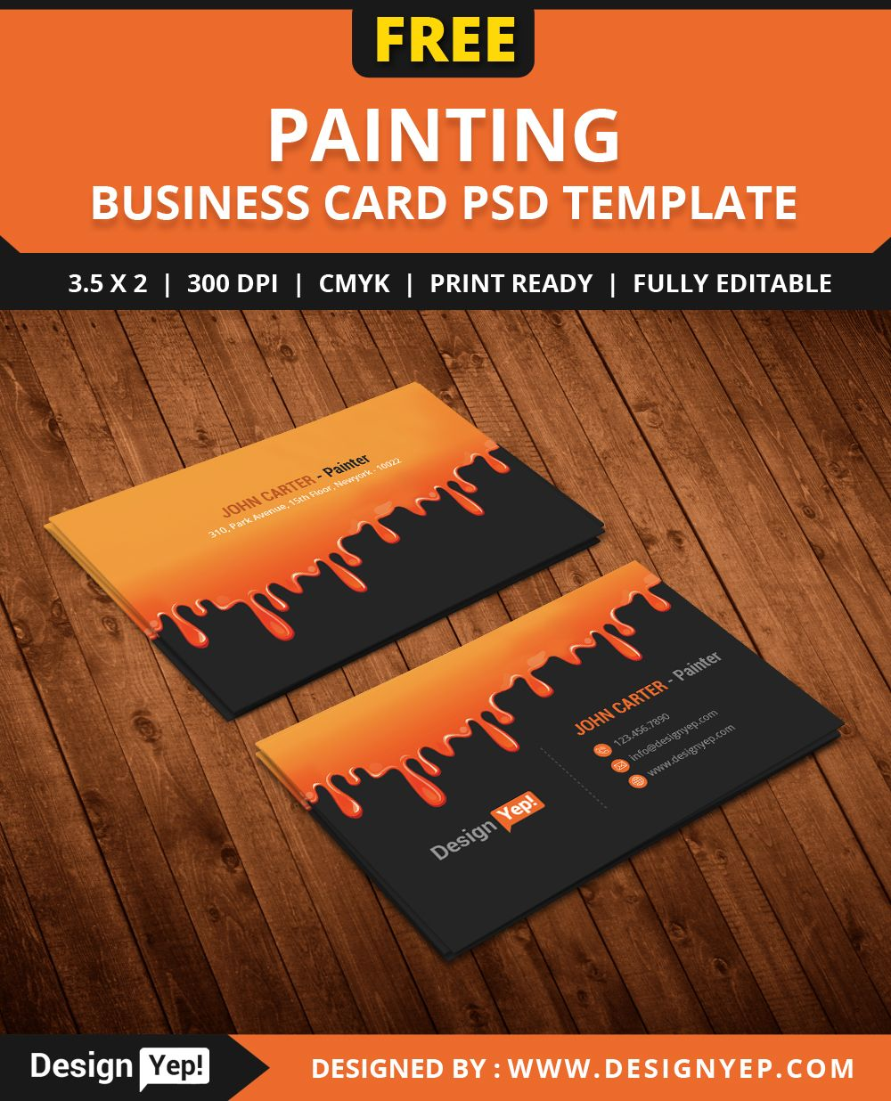 Free painting business card psd template free business card free painting business card psd template colourmoves