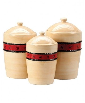 3 Piece Tan Kitchen Canister Set By Montana Silversmith