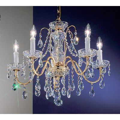 Classic Lighting Daniele 5-Light Crystal Chandelier Crystal Type: Crystalique, Finish: English Bronze
